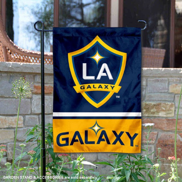 Los Angeles Galaxy Garden Flag is 12.5x18 inches in size, is made of 2-ply polyester, and has two sided screen printed logos and lettering. Available with Express Next Day Shipping, our Los Angeles Galaxy Garden Flag is MLS Genuine Merchandise and is double sided.