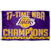 Los Angeles Lakers 17 Time NBA Champions Banner Flag