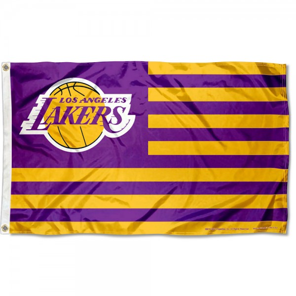 Los Angeles Lakers Americana Stripes Nation Flag measures 3x5 feet, is made of polyester, offers quad-stitched flyends, has two metal grommets, and is viewable from both sides with a reverse image on the opposite side. Our Los Angeles Lakers Americana Stripes Nation Flag is Genuine NBA Merchandise.