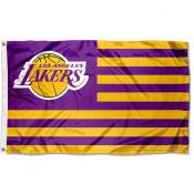 Los Angeles Lakers Americana Stripes Nation Flag