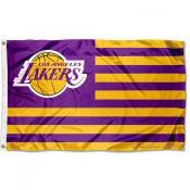 Los Angeles Lakers Americana Stripes Nation Flag