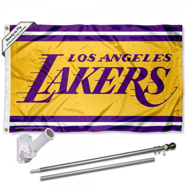 Our Los Angeles Lakers Flag Pole and Bracket Kit includes the flag as shown and the recommended flagpole and flag bracket. The flag is made of polyester, has quad-stitched flyends, and the NBA Licensed team logos are double sided screen printed. The flagpole and bracket are made of rust proof aluminum and includes all hardware so this kit is ready to install and fly.