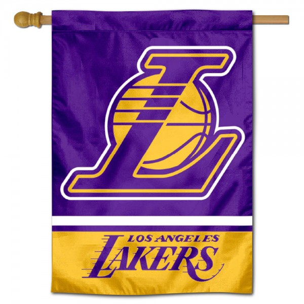 Los Angeles Lakers Logo Double Sided House Flag is screen printed with Los Angeles Lakers logos, is made of 2-ply 100% polyester, and is two sided and double sided. Our banners measure 28x40 inches and hang vertically with a top pole sleeve to insert your banner pole or flagpole.