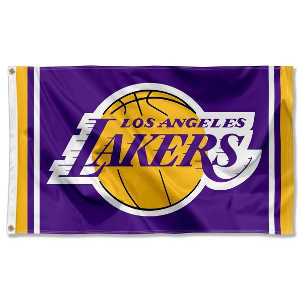The Los Angeles Lakers Purple Team Flag is four-stitched bordered, double sided, made of poly, 3'x5', and has two grommets. These Los Angeles Lakers Purple Team Flags are NBA Genuine Merchandise.