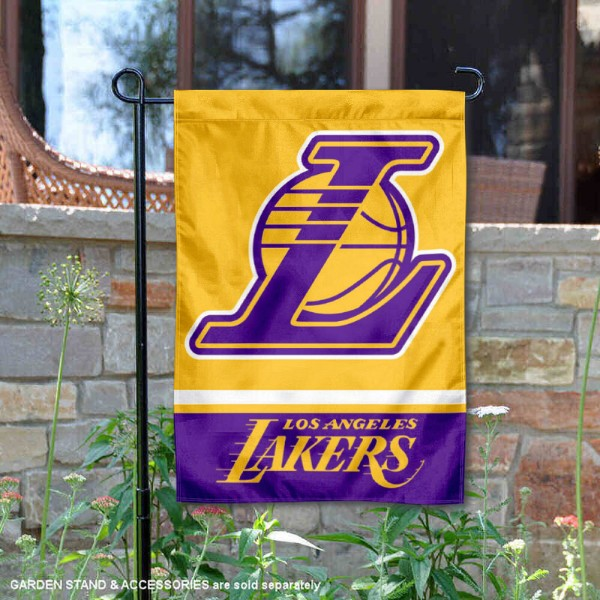 Los Angeles Lakers Wordmark Double Sided Garden Flag is 12.5x18 inches in size, is made of 2-ply polyester, and has two sided screen printed logos and lettering. Available with Express Next Day Shipping, our Los Angeles Lakers Wordmark Double Sided Garden Flag is NBA Genuine Merchandise and is double sided.