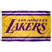Los Angeles Lakers Wordmark Logo 3x5 Flag