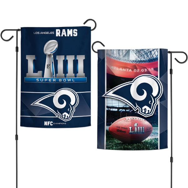 Los Angeles Rams 2018 NFC Champions Garden Flag is 12x18 inches in size, is made of thick 1-ply 300D triple spun polyester, and has two sided screen printed logos and lettering. Available with Express Next Day Ship, our Los Angeles Rams 2018 NFC Champions Garden Flag is NFL Officially Licensed and is double sided.