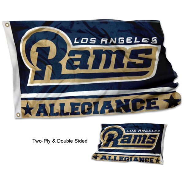 Los Angeles Rams Allegiance Flag measures 3'x5', is made of 2-ply double sided polyester with liner, has quadruple stitched sewing, two metal grommets, and has two sided team logos. Our Los Angeles Rams Allegiance Flag is officially licensed by the selected team and the NFL and is available with overnight express shipping.
