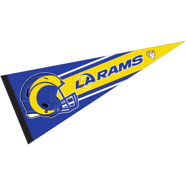 This Los Angeles Rams Football Pennant measures 12x30 inches, is constructed of felt, and is single sided screen printed with the Los Angeles Rams logo and helmets. This Los Angeles Rams Football Pennant is a NFL Officially Licensed product.