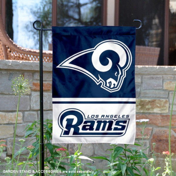Los Angeles Rams Garden Flag is 12.5x18 inches in size, is made of 2-ply polyester, and has two sided screen printed logos and lettering. Available with Express Next Day Ship, our Los Angeles Rams Garden Flag is NFL Officially Licensed and is double sided.