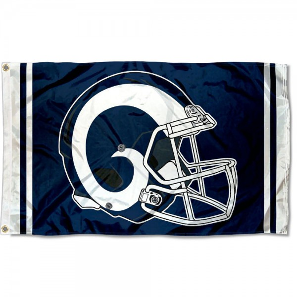 Our Los Angeles Rams New Helmet Flag is two sided, made of poly, 3'x5', Overnight Shipping, has two metal grommets, indoor or outdoor, and four-stitched fly ends. These Los Angeles Rams New Helmet Flags are Officially Approved by the Los Angeles Rams.