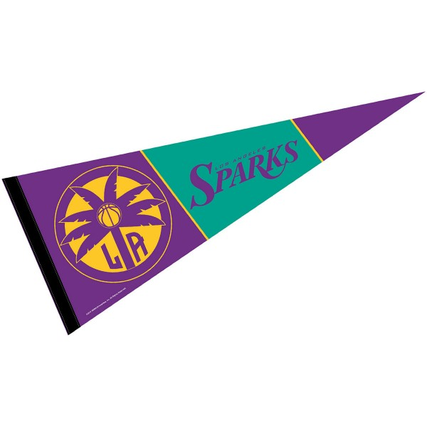 Los Angeles Sparks Pennant is our WNBA team pennant which measures 12x30 inches, is made of soft wool and felt blends, has a pennant sleeve, and is single sided screen printed. Our Los Angeles Sparks Pennant is perfect for showing your WNBA team allegiance in any room of the house and is WNBA officially licensed