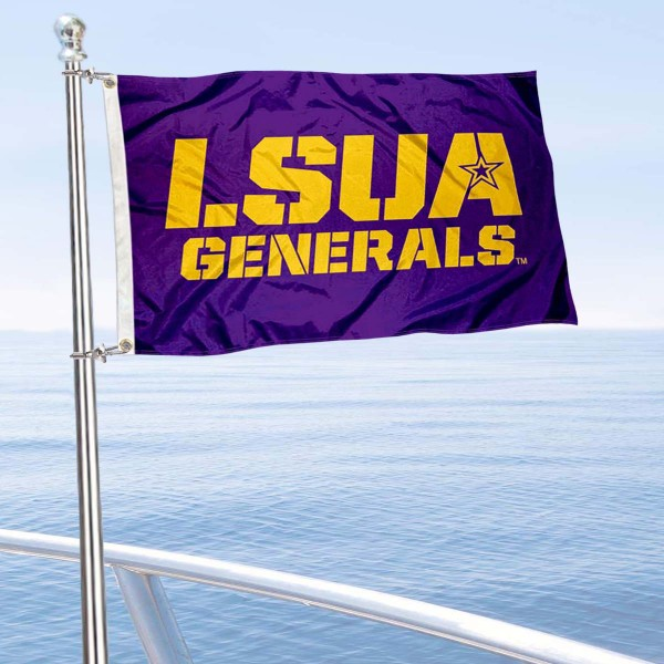 Louisiana Alexandria Generals Boat and Mini Flag is 12x18 inches, polyester, offers quadruple stitched flyends for durability, has two metal grommets, and is double sided. Our mini flags for Louisiana State University at Alexandria are licensed by the university and NCAA and can be used as a boat flag, motorcycle flag, golf cart flag, or ATV flag.