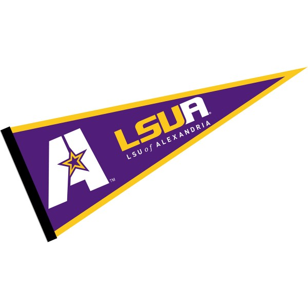 Louisiana Alexandria Generals Pennant consists of our full size sports pennant which measures 12x30 inches, is constructed of felt, is single sided imprinted, and offers a pennant sleeve for insertion of a pennant stick, if desired. This Louisiana Alexandria Generals Pennant Decorations is Officially Licensed by the selected university and the NCAA.