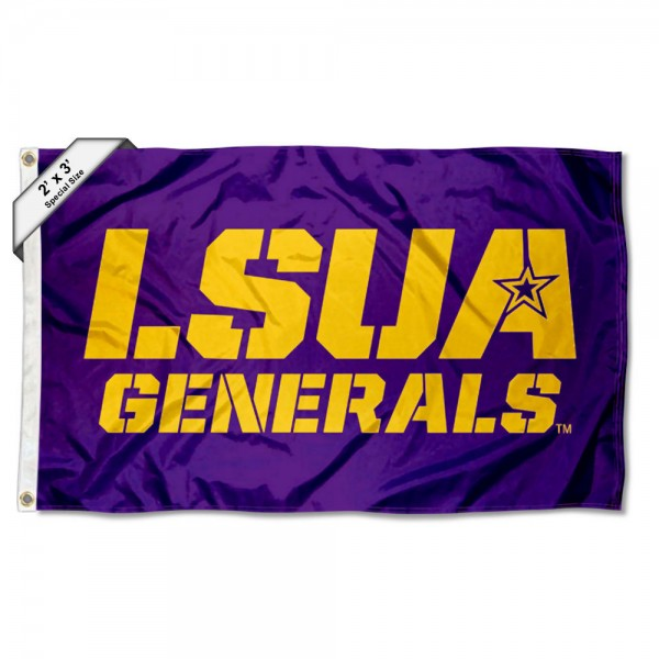 Louisiana Alexandria Generals Small 2'x3' Flag measures 2x3 feet, is made of 100% polyester, offers quadruple stitched flyends, has two brass grommets, and offers printed Louisiana Alexandria Generals logos, letters, and insignias. Our 2x3 foot flag is Officially Licensed by the selected university.