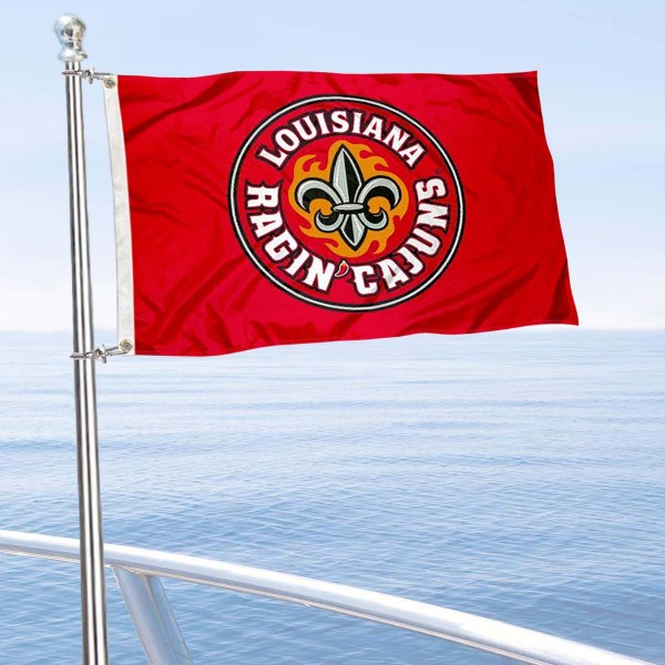 Louisiana Lafayette Boat and Mini Flag is 12x18 inches, polyester, offers quadruple stitched flyends for durability, has two metal grommets, and is double sided. Our mini flags for Louisiana Lafayette are licensed by the university and NCAA and can be used as a boat flag, motorcycle flag, golf cart flag, or ATV flag.