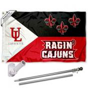 Louisiana Lafayette Ragin Cajuns Acadian Flag Pole and Bracket Kit
