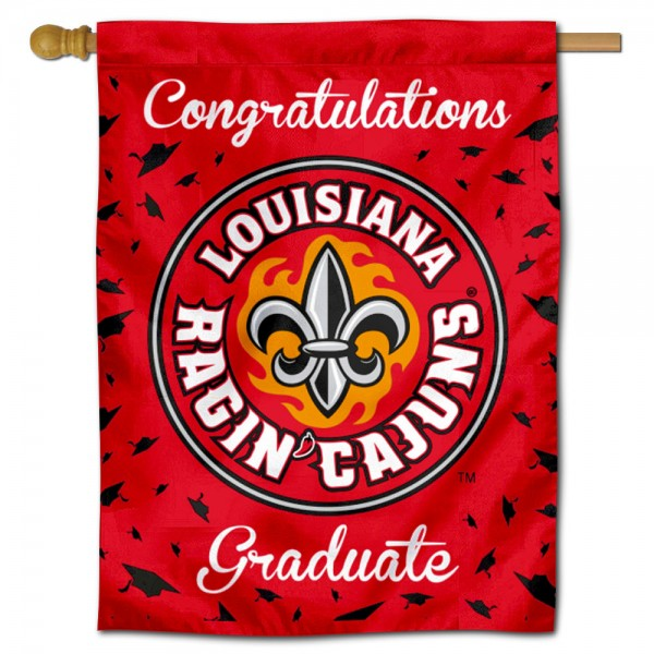 Louisiana Lafayette Ragin Cajuns Congratulations Graduate Flag measures 30x40 inches, is made of poly, has a top hanging sleeve, and offers dye sublimated Louisiana Lafayette Ragin Cajuns logos. This Decorative Louisiana Lafayette Ragin Cajuns Congratulations Graduate House Flag is officially licensed by the NCAA.