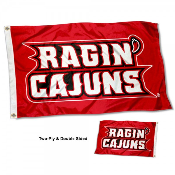 Louisiana Lafayette Ragin Cajuns Double Sided Flag measures 3'x5', is made of 2 layer 100% polyester, has quadruple stitched flyends for durability, and is readable correctly on both sides. Our Louisiana Lafayette Ragin Cajuns Double Sided Flag is officially licensed by the university, school, and the NCAA.