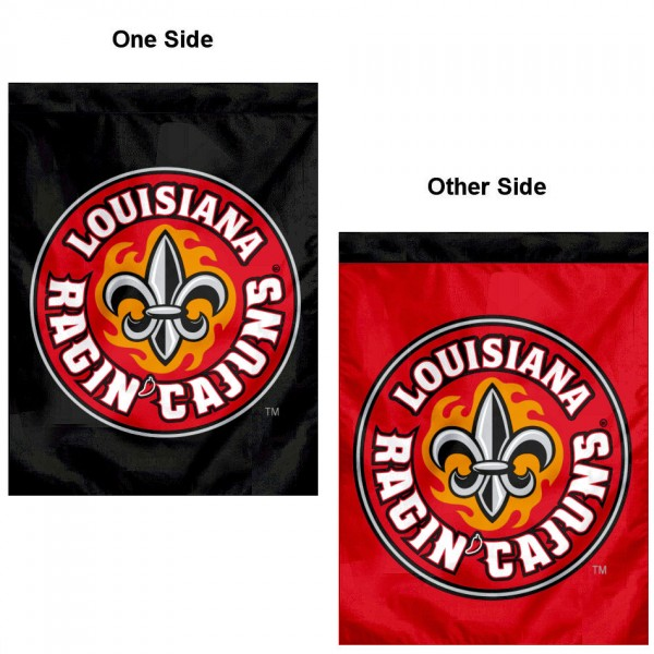 Louisiana Lafayette Ragin Cajuns Double Sided House Flag is a vertical house flag which measures 30x40 inches, is made of 2 ply 100% polyester, offers screen printed NCAA team insignias, and has a top pole sleeve to hang vertically. Our Louisiana Lafayette Ragin Cajuns Double Sided House Flag is officially licensed by the selected university and the NCAA.