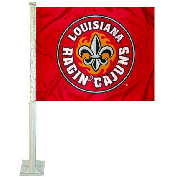 Louisiana Lafayette Rajun Cajuns Car Window Flag measures 12x15 inches, is constructed of sturdy 2 ply polyester, and has screen printed school logos which are readable and viewable correctly on both sides. Louisiana Lafayette Rajun Cajuns Car Window Flag is officially licensed by the NCAA and selected university.
