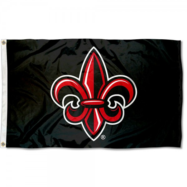 Louisiana Lafayette Rajun Cajuns Fleur Black Flag measures 3x5 feet, is made of 100% polyester, offers quadruple stitched flyends, has two metal grommets, and offers screen printed NCAA team logos and insignias. Our Louisiana Lafayette Rajun Cajuns Fleur Black Flag is officially licensed by the selected university and NCAA.