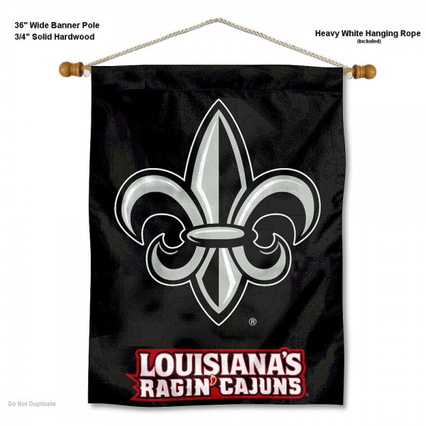 "Louisiana Lafayette Rajun Cajuns Wall Banner is constructed of polyester material, measures a large 30""x40"", offers screen printed athletic logos, and includes a sturdy 3/4"" diameter and 36"" wide banner pole and hanging cord. Our Louisiana Lafayette Rajun Cajuns Wall Banner is Officially Licensed by the selected college and NCAA."