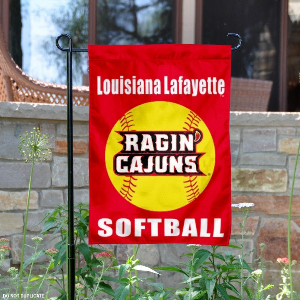 Louisiana Lafayette Softball Yard Flag is 13x18 inches in size, is made of 2-layer polyester, screen printed ULL Ragin Cajuns Softball athletic logos and lettering. Available with Same Day Express Shipping, Our Louisiana Lafayette Softball Yard Flag is officially licensed and approved by ULL Ragin Cajuns Softball and the NCAA.