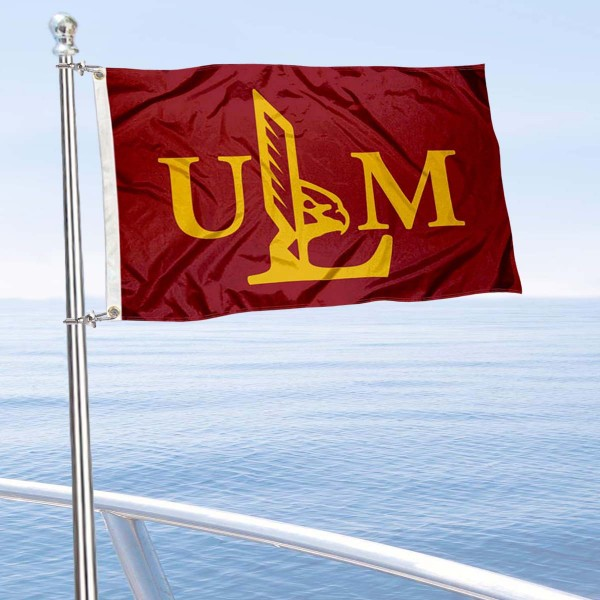 Louisiana Monroe Warhawks Boat and Mini Flag is 12x18 inches, polyester, offers quadruple stitched flyends for durability, has two metal grommets, and is double sided. Our mini flags for University of Louisiana at Monroe are licensed by the university and NCAA and can be used as a boat flag, motorcycle flag, golf cart flag, or ATV flag.