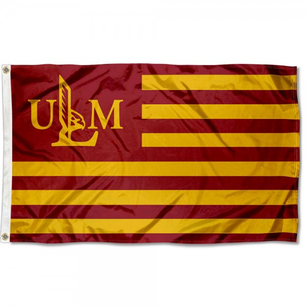 Louisiana Monroe Warhawks Stripes Flag measures 3'x5', is made of polyester, offers double stitched flyends for durability, has two metal grommets, and is viewable from both sides with a reverse image on the opposite side. Our Louisiana Monroe Warhawks Stripes Flag is officially licensed by the selected school university and the NCAA.