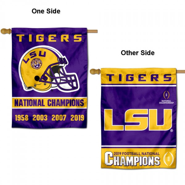 Louisiana State LSU Tigers 2019 and 4 Time Champions Double Sided House Flag is a vertical house flag which measures 30x40 inches, is made of 2 ply 100% polyester, offers screen printed NCAA team insignias, and has a top pole sleeve to hang vertically. Our Louisiana State LSU Tigers 2019 and 4 Time Champions Double Sided House Flag is officially licensed by the selected university and the NCAA.
