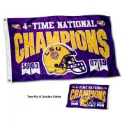 Louisiana State LSU Tigers 4 Time Football National Champions Double Sided Flag