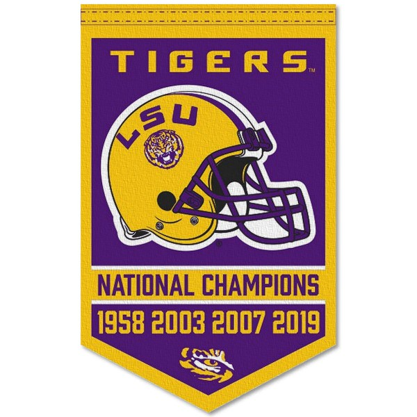Louisiana State LSU Tigers 4 Time Football National Champions Banner consists of our sports dynasty year banner which measures 15x24 inches, is constructed of rigid felt, is single sided imprinted, and offers a pennant sleeve for insertion of a pennant stick, if desired. This sports banner is a unique collectible and keepsake of the legacy game and is Officially Licensed and University, School, and College Approved.