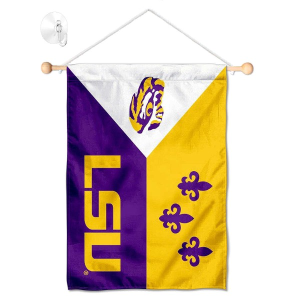 """Louisiana State LSU Tigers Banner with Suction Cup kit includes our 13""""x18"""" garden banner which is made of 2 ply poly with liner and has screen printed licensed logos. Also, a 17"""" wide banner pole with suction cup is included so your Louisiana State LSU Tigers Banner with Suction Cup is ready to be displayed with no tools needed for setup. Fast Overnight Shipping is offered and the flag is Officially Licensed and Approved by the selected team."""
