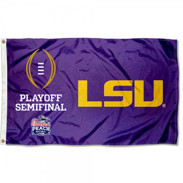 Louisiana State LSU Tigers CFP College Football Playoff Semifinal Game Flag measures 3x5 feet, is made of 100% polyester, offers quadruple stitched flyends, has two metal grommets, and offers screen printed NCAA team logos and insignias. Our Louisiana State LSU Tigers CFP College Football Playoff Semifinal Game Flag is officially licensed by the selected university and NCAA.