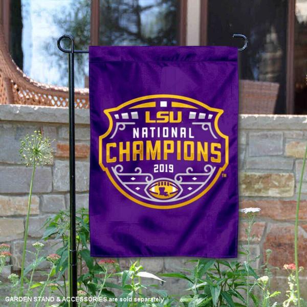 Louisiana State LSU Tigers College Football Playoff Champions Garden Flag is 13x18 inches in size, is made of 2-layer polyester, screen printed university athletic logos and lettering, and is readable and viewable correctly on both sides. Available same day shipping, our Louisiana State LSU Tigers College Football Playoff Champions Garden Flag is officially licensed and approved by the university and the NCAA.