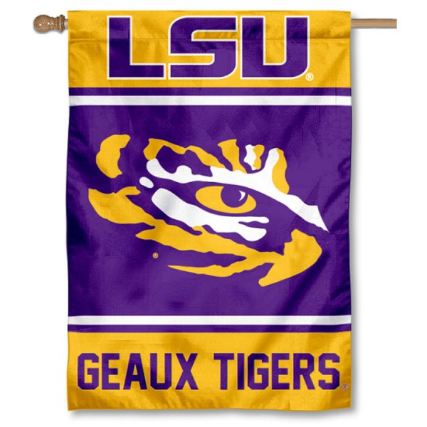 Louisiana State LSU Tigers Double Sided Banner is a vertical house flag which measures 28x40 inches, is made of 2 ply 100% nylon, offers screen printed NCAA team insignias, and has a top pole sleeve to hang vertically. Our Louisiana State LSU Tigers Double Sided Banner is officially licensed by the selected university and the NCAA.
