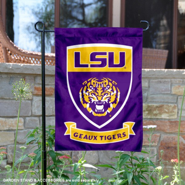 Louisiana State LSU Tigers Double Sided Shield Logo Garden Flag is 13x18 inches in size, is made of 2-layer polyester, screen printed university athletic logos and lettering, and is readable and viewable correctly on both sides. Available same day shipping, our Louisiana State LSU Tigers Double Sided Shield Logo Garden Flag is officially licensed and approved by the university and the NCAA.