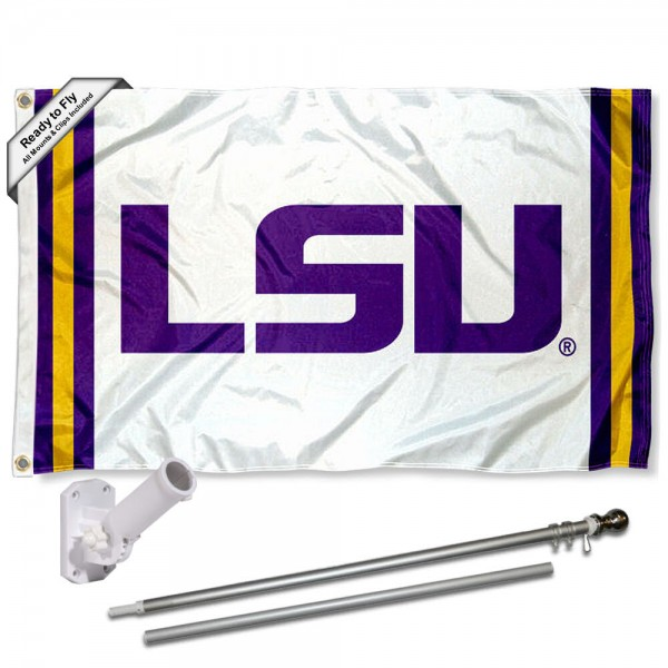 Our Louisiana State LSU Tigers Flag Pole and Bracket Kit includes the flag as shown and the recommended flagpole and flag bracket. The flag is made of polyester, has quad-stitched flyends, and the NCAA Licensed team logos are double sided screen printed. The flagpole and bracket are made of rust proof aluminum and includes all hardware so this kit is ready to install and fly.