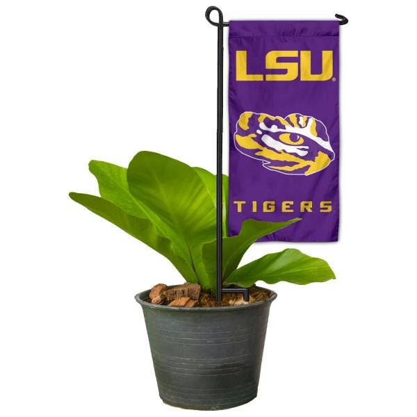 "Louisiana State LSU Tigers Flower Pot Topper Flag kit includes our 4""x8"" mini garden banner and 6"" x 14"" mini garden banner stand. The mini flag is made of 1-ply polyester, has screen printed logos and the garden stand is made of steel and powder coated black. This kit is NCAA Officially Licensed by the selected college or university."