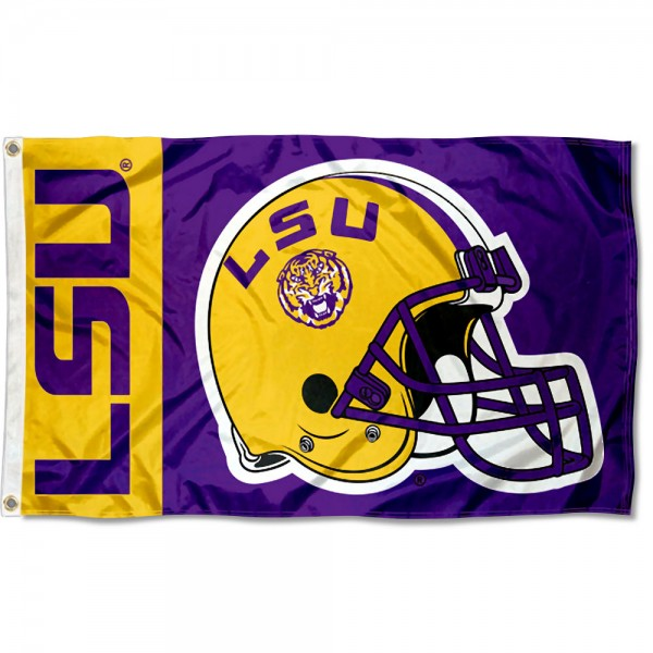 Louisiana State LSU Tigers Football Helmet Flag measures 3x5 feet, is made of 100% polyester, offers quadruple stitched flyends, has two metal grommets, and offers screen printed NCAA team logos and insignias. Our Louisiana State LSU Tigers Football Helmet Flag is officially licensed by the selected university and NCAA.