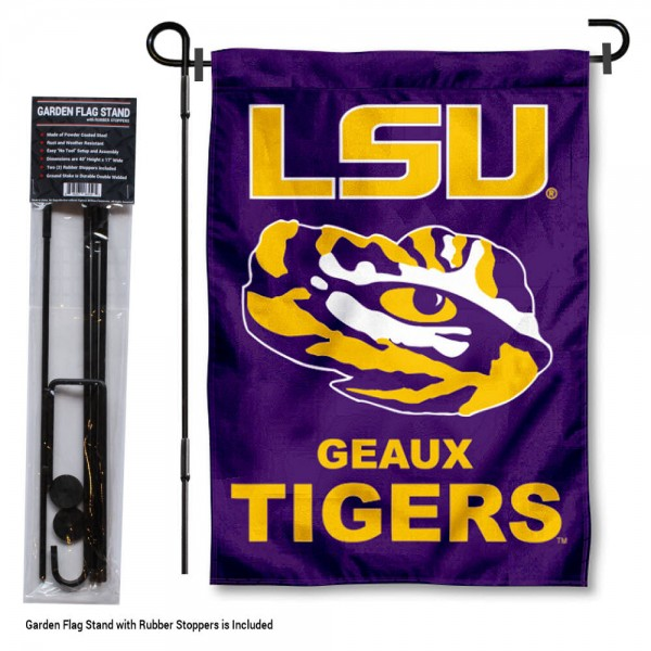 "Louisiana State LSU Tigers Garden Flag and Stand kit includes our 13""x18"" garden banner which is made of 2 ply poly with liner and has screen printed licensed logos. Also, a 40""x17"" inch garden flag stand is included so your Louisiana State LSU Tigers Garden Flag and Stand is ready to be displayed with no tools needed for setup. Fast Overnight Shipping is offered and the flag is Officially Licensed and Approved by the selected team."