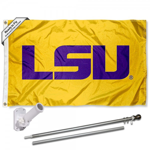 Our Louisiana State LSU Tigers Gold Flag Pole and Bracket Kit includes the flag as shown and the recommended flagpole and flag bracket. The flag is made of polyester, has quad-stitched flyends, and the NCAA Licensed team logos are double sided screen printed. The flagpole and bracket are made of rust proof aluminum and includes all hardware so this kit is ready to install and fly.