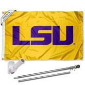 Louisiana State LSU Tigers Gold Flag Pole and Bracket Kit