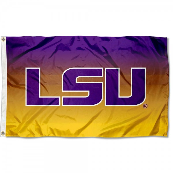 Louisiana State LSU Tigers Gradient Ombre Flag measures 3x5 feet, is made of 100% polyester, offers quadruple stitched flyends, has two metal grommets, and offers screen printed NCAA team logos and insignias. Our Louisiana State LSU Tigers Gradient Ombre Flag is officially licensed by the selected university and NCAA.