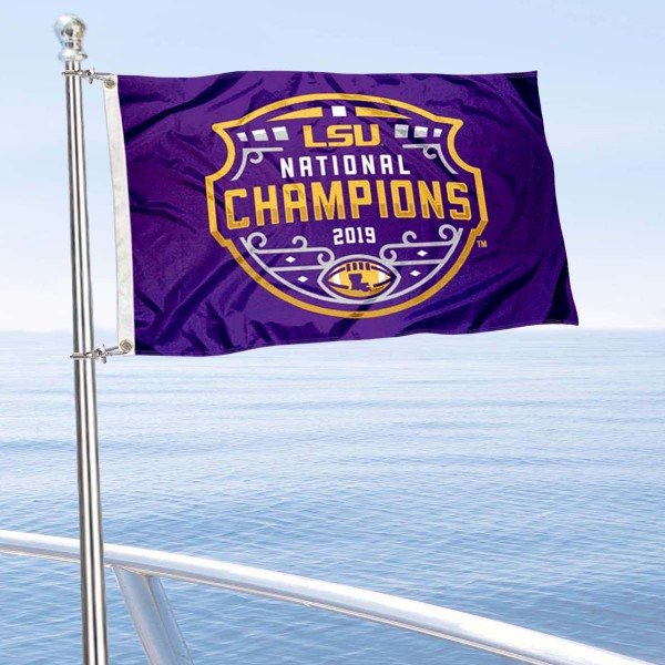 Louisiana State LSU Tigers National Champions Boat and Mini Flag is 12x18 inches, polyester, offers quadruple stitched flyends for durability, has two metal grommets, and is double sided. Our mini flags for Louisiana State LSU Tigers are licensed by the university and NCAA and can be used as a boat flag, motorcycle flag, golf cart flag, or ATV flag.