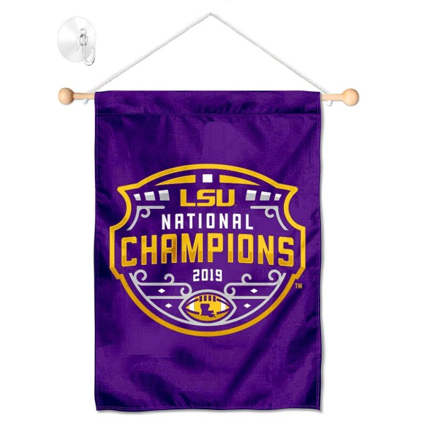 """Louisiana State LSU Tigers National Champions Shield Banner with Suction Cup kit includes our 13""""x18"""" garden banner which is made of 2 ply poly with liner and has screen printed licensed logos. Also, a 17"""" wide banner pole with suction cup is included so your Louisiana State LSU Tigers National Champions Shield Banner with Suction Cup is ready to be displayed with no tools needed for setup. Fast Overnight Shipping is offered and the flag is Officially Licensed and Approved by the selected team."""
