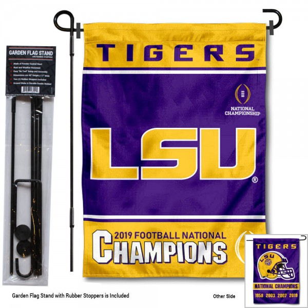 "Louisiana State LSU Tigers National Football Champions Garden Flag and Pole Stand kit includes our 13""x18"" garden banner which is made of 2 ply poly with liner and has screen printed licensed logos. Also, a 40""x17"" inch garden flag stand is included so your Louisiana State LSU Tigers National Football Champions Garden Flag and Pole Stand is ready to be displayed with no tools needed for setup. Fast Overnight Shipping is offered and the flag is Officially Licensed and Approved by the selected team."