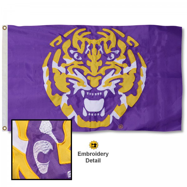 Louisiana State LSU Tigers Nylon Embroidered Flag measures 3'x5', is made of 100% nylon, has quadruple flyends, two metal grommets, and has double sided appliqued and embroidered University logos. These Louisiana State LSU Tigers 3x5 Flags are officially licensed by the selected university and the NCAA.