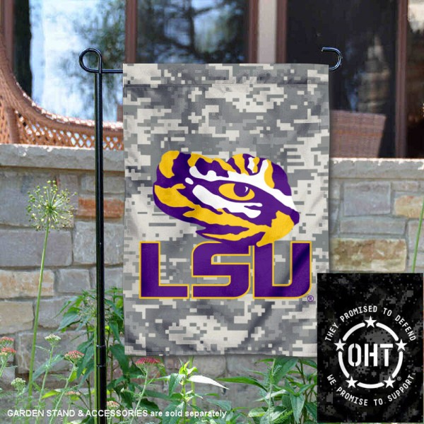 Louisiana State LSU Tigers Operation Hat Trick Garden Flag is 13x18 inches in size, is made of 2-layer polyester, screen printed university athletic logos and lettering, and is readable and viewable correctly on both sides. Available same day shipping, our Louisiana State LSU Tigers Operation Hat Trick Garden Flag is officially licensed and approved by the university and the NCAA.